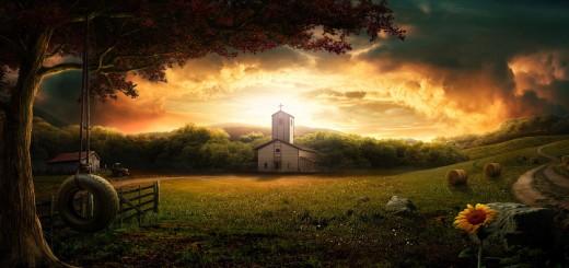 wallpaper hd Landscape and church