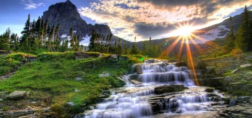 paisaje con cascada